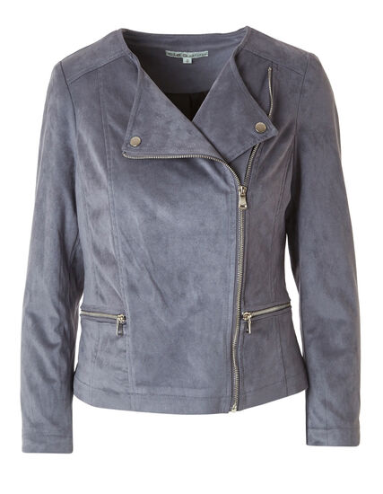 Grey Faux Suede Moto Jacket, Grey, hi-res