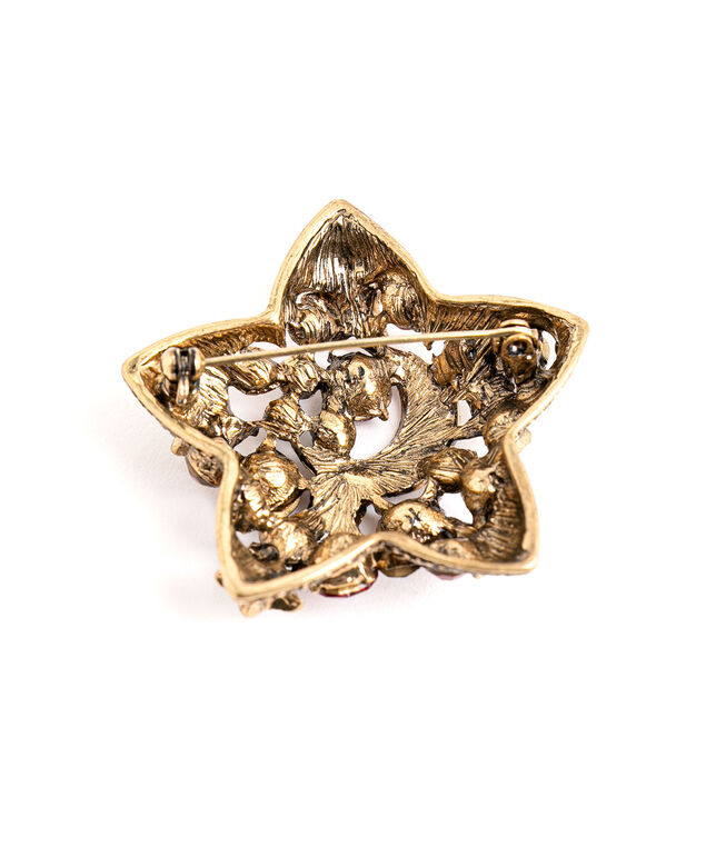 Red & Green Crystal Star Pin, Gold