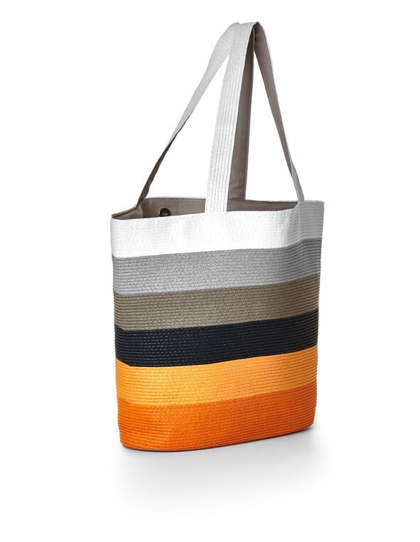 Orange Striped Straw Tote, Orange, hi-res