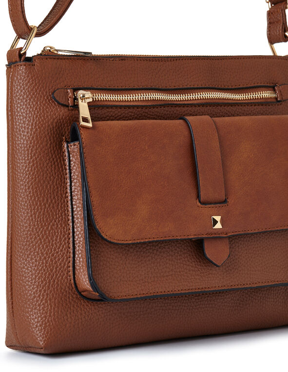 Brown Flap Cross Body Bag, Brown, hi-res