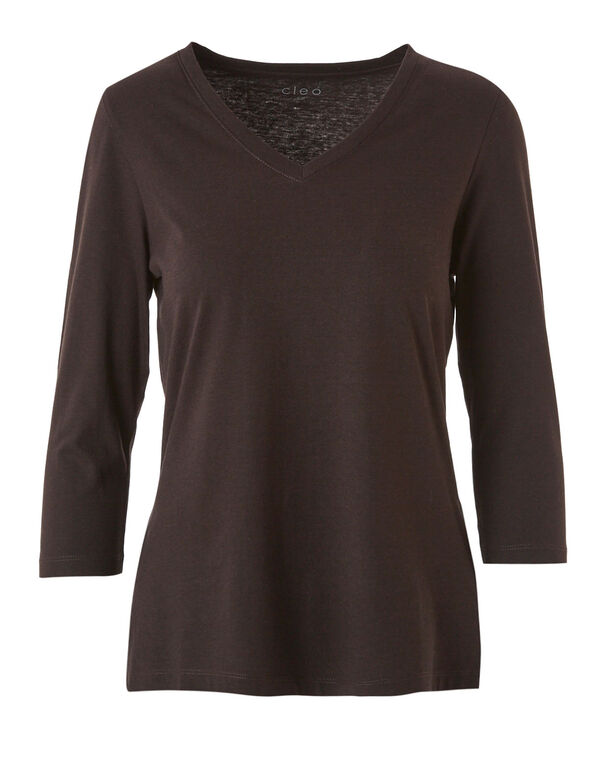 Brown V-Neck Essential Tee, Brown, hi-res