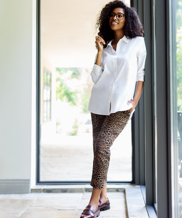 Leopard Microtwill Pant Look,