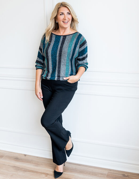 Teal Striped Sweater Look, , hi-res