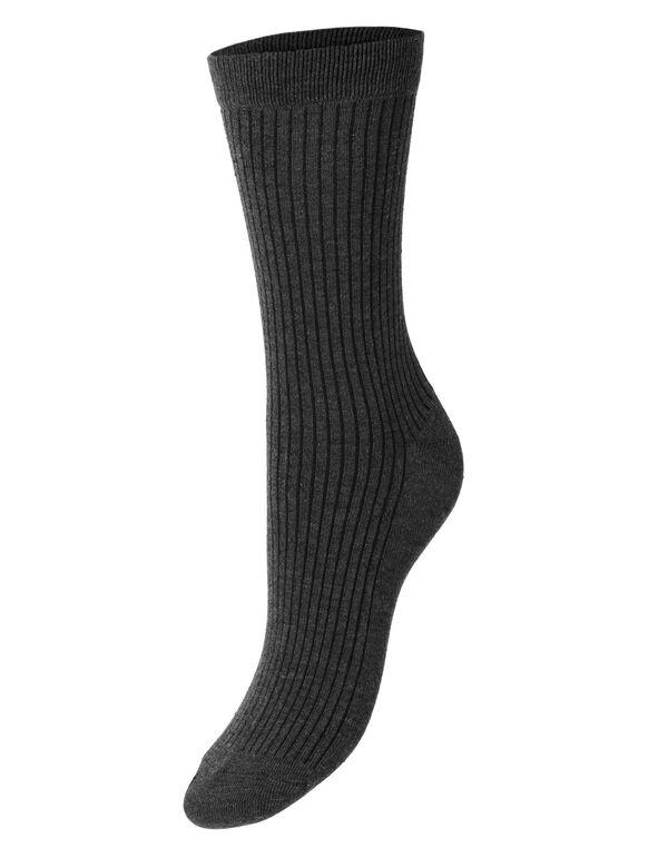 Black Patterned Crew Sock 3 Pack, Black, hi-res