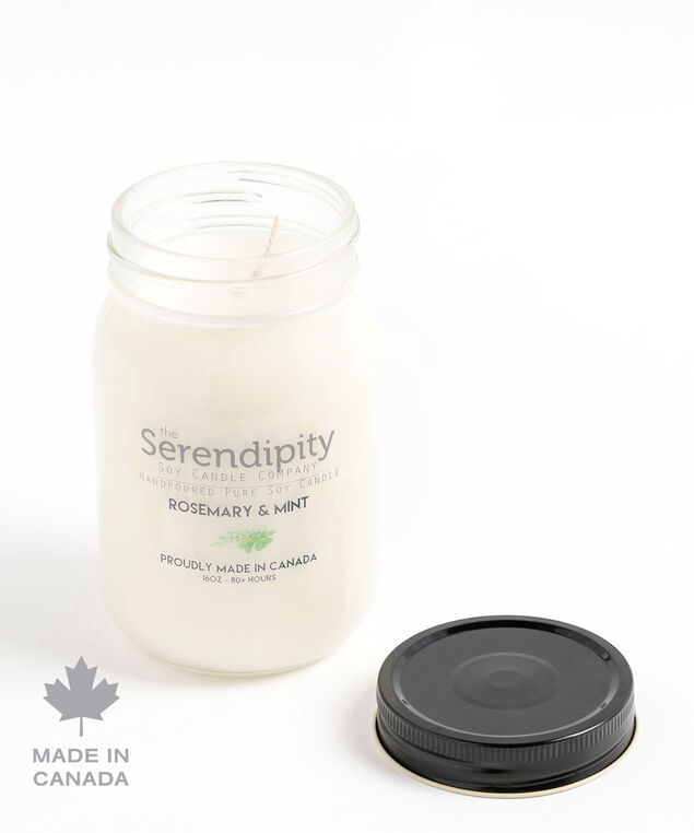 Rosemary & Mint Soy Candle, White