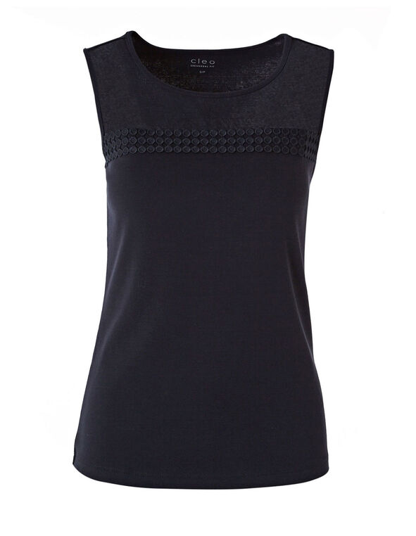 Navy Mesh Front Sleeveless Tee, Navy, hi-res