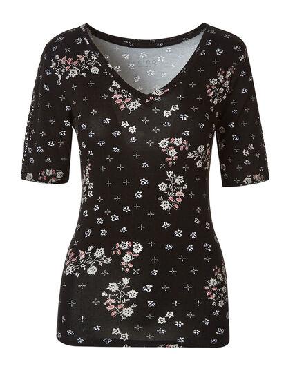 Black Floral Crochet Sleeve Tee, Black, hi-res