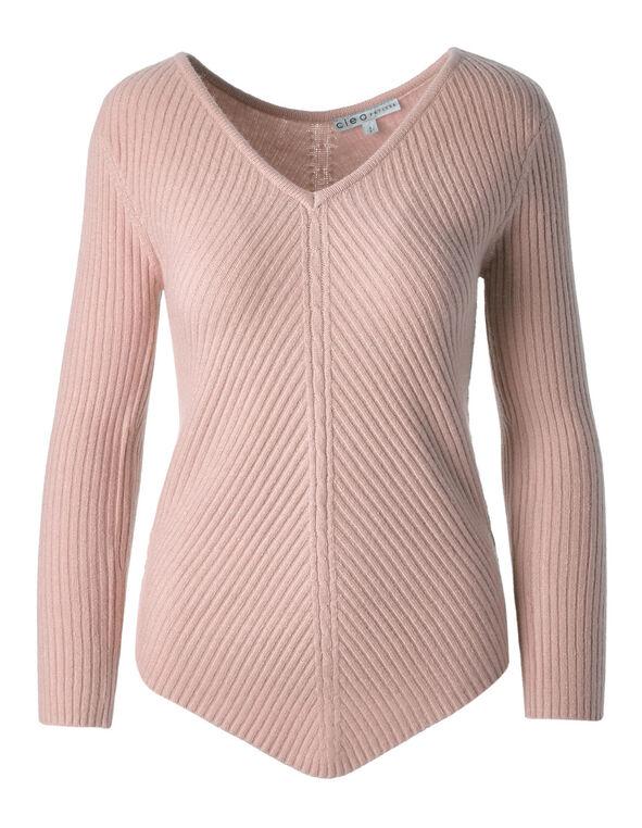 Ballet Pink Rib Knit Pullover, Pink, hi-res