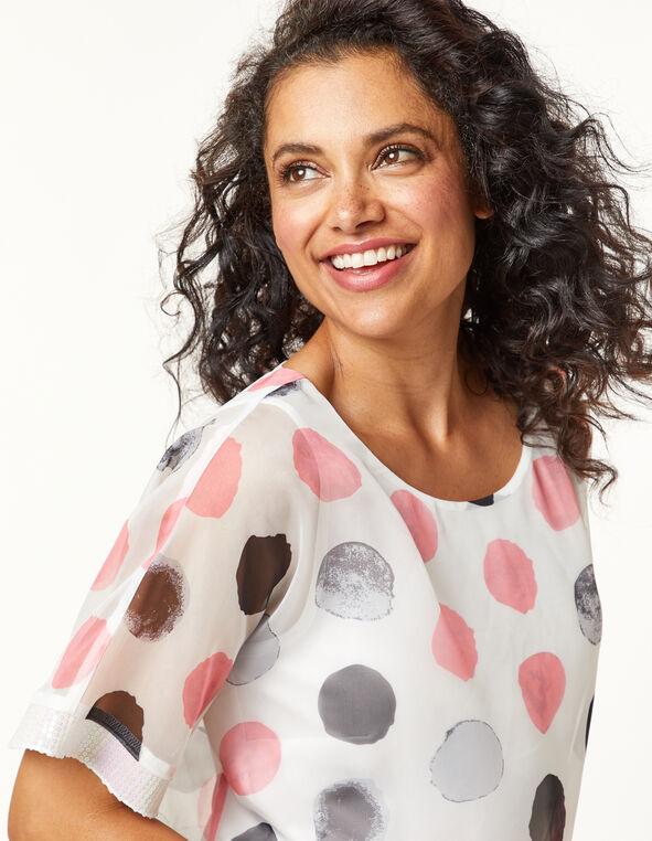 Polka Dot Sequin Detail Blouse, White/Pink, hi-res