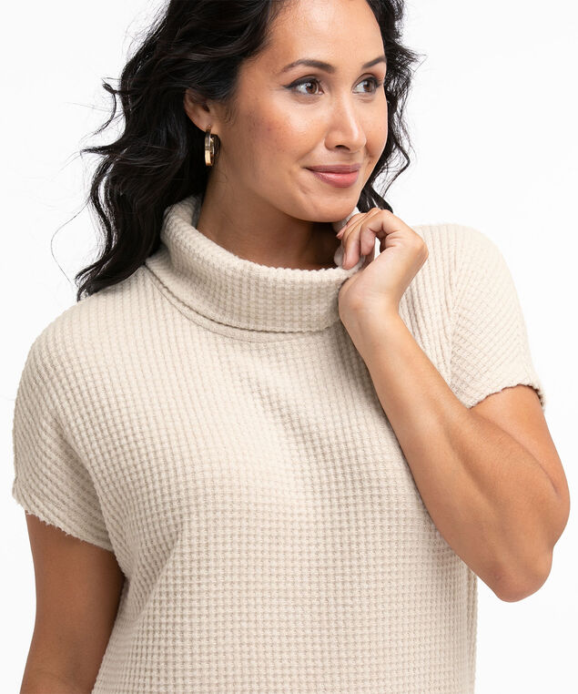 Hacchi Waffle Knit Tunic Top, Oat Mix