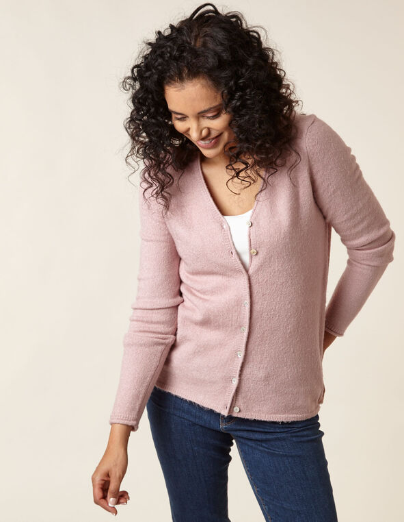 Blush Button Front Cardigan, Pink, hi-res