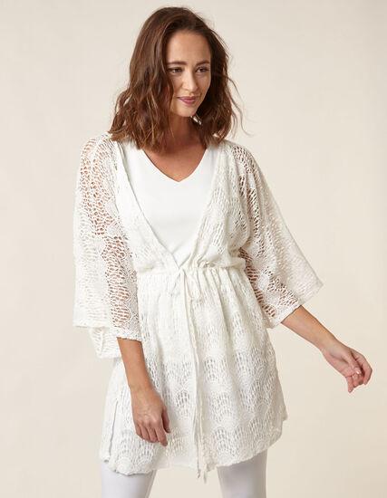 White Lace Kimono, White, hi-res