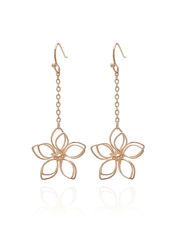 Rose Gold Wire Flower Earring, Rose Gold, hi-res