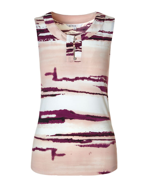 Sangria Printed Sleeveless Top, Sangria/Pink, hi-res