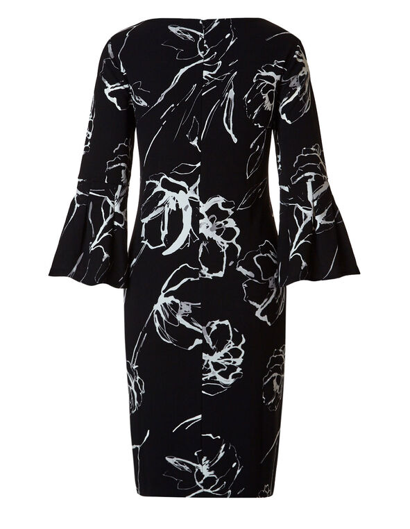 Black Floral Bell Sleeve Shift Dress, Black, hi-res