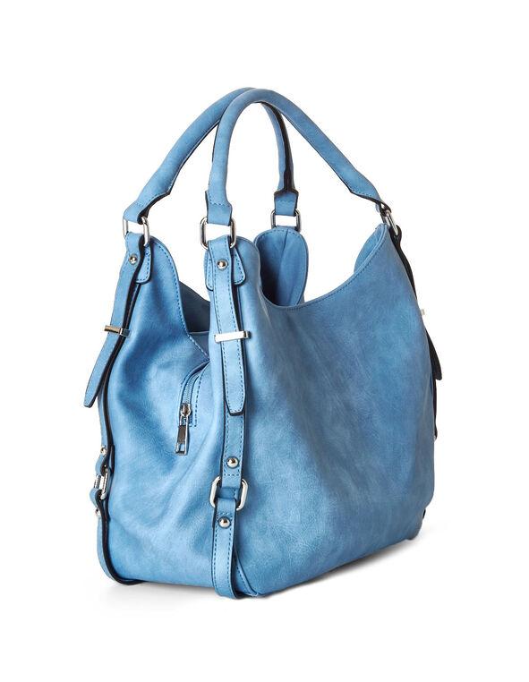 Blue Hobo Tote Handbag, Blue, hi-res