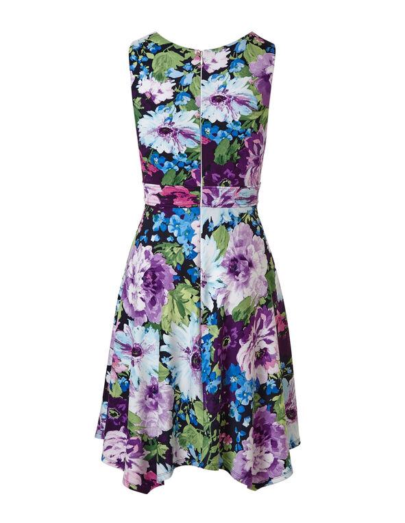 Purple Floral Fit & Flare Dress, Purple, hi-res