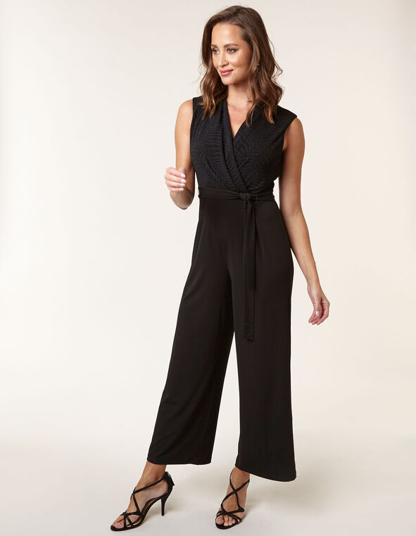 Black Metallic Front Tie Jumpsuit, Black, hi-res