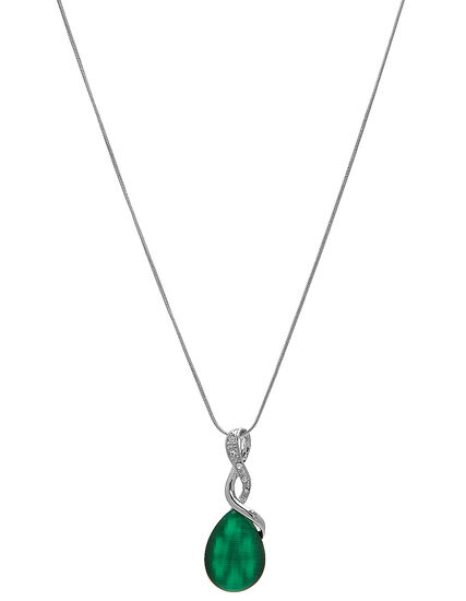 Emerald Cat Eye Pendant Necklace, Green/Silver, hi-res