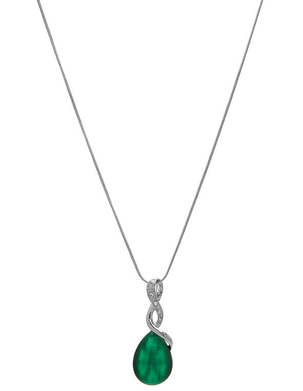 Emerald Cat Eye Pendant Necklace, Green/Silver, hi-res