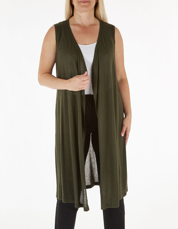 Dark Green Long Sweater Vest, Green, hi-res