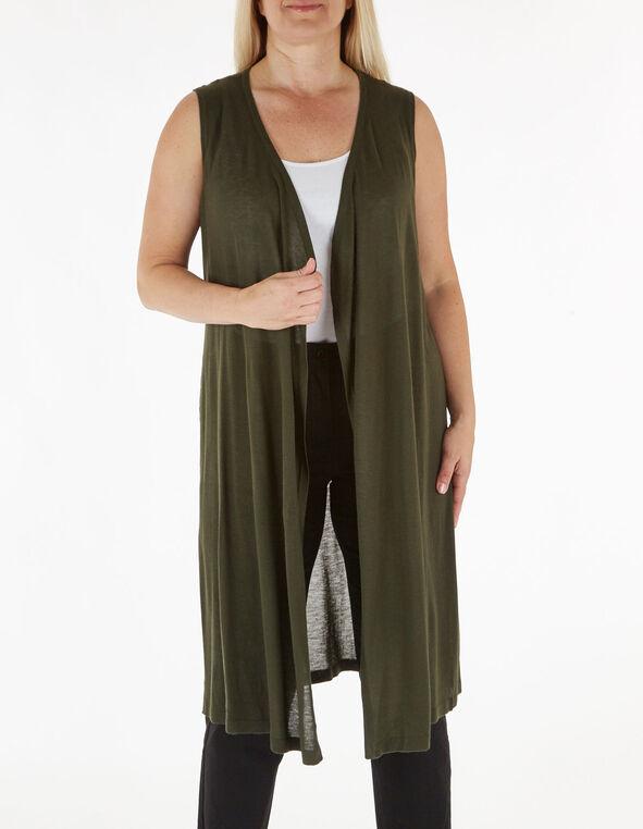 Dark Green Long Sweater Vest, Green, hi-res