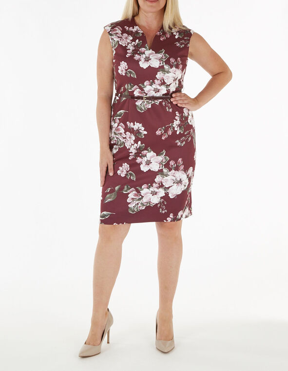 Merlot Floral Print Scuba Dress, Wine, hi-res