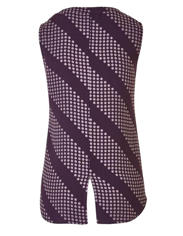 Purple Dotted Hi-Low Shell Blouse, Purple Dot, hi-res