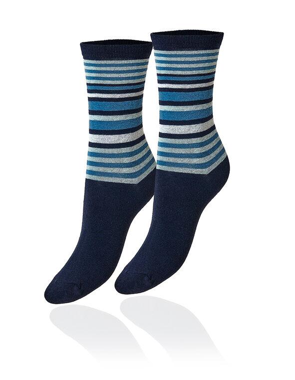 Blue Variegated Stripe Crew Sock, Blue, hi-res