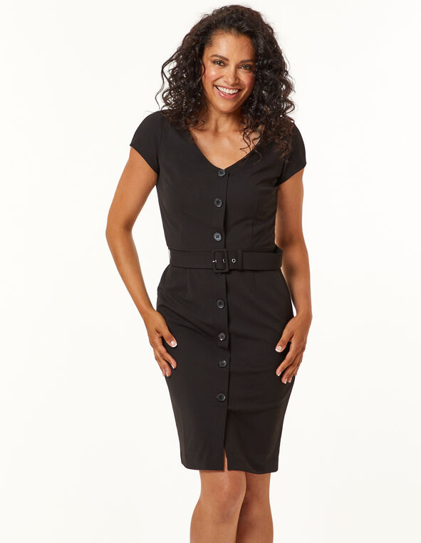 Black Button Front Dress, Black, hi-res