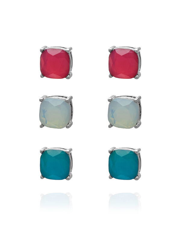 Coloured Earring Trio Set, Pink/White/Blue, hi-res