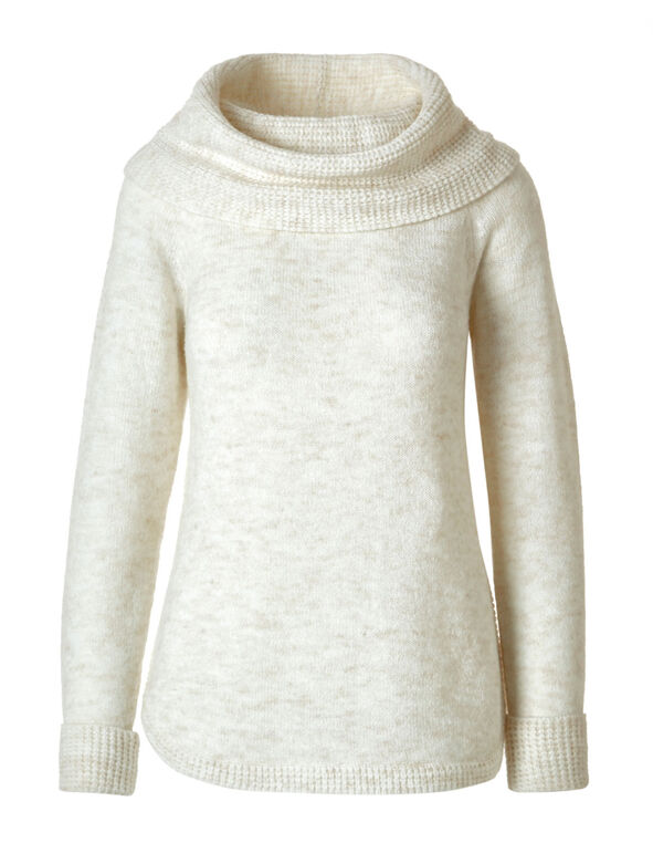 Oat Cowl Neck Pullover, Oat, hi-res