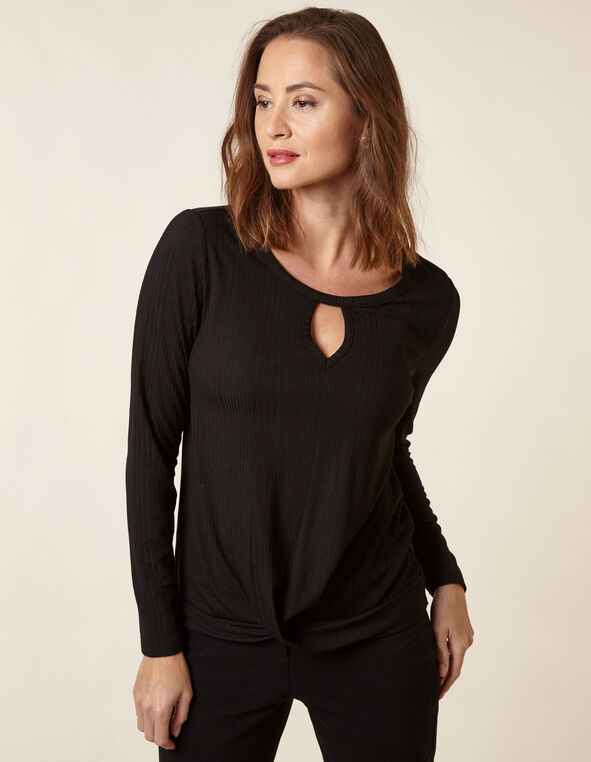 Black Knit Wrap Front Top, Black, hi-res