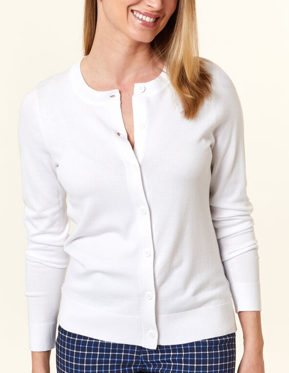 White Button Front Cardigan, White, hi-res