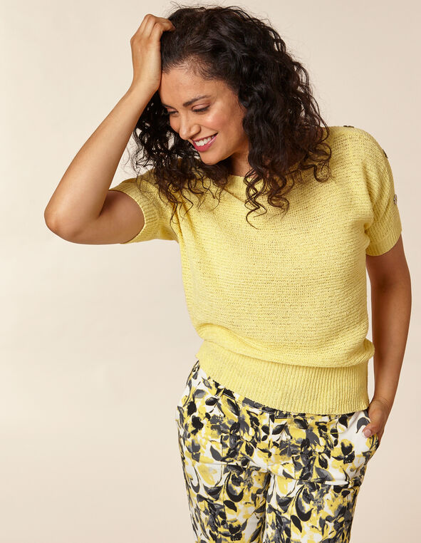 Citrus Button Pullover Sweater, Yellow/Citrus, hi-res