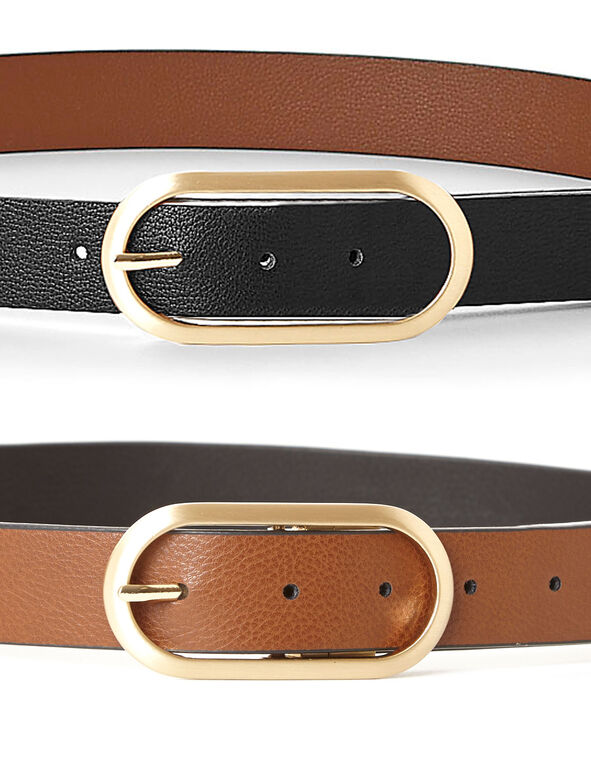Black/Brown Reversible Belt, Brown/Black, hi-res