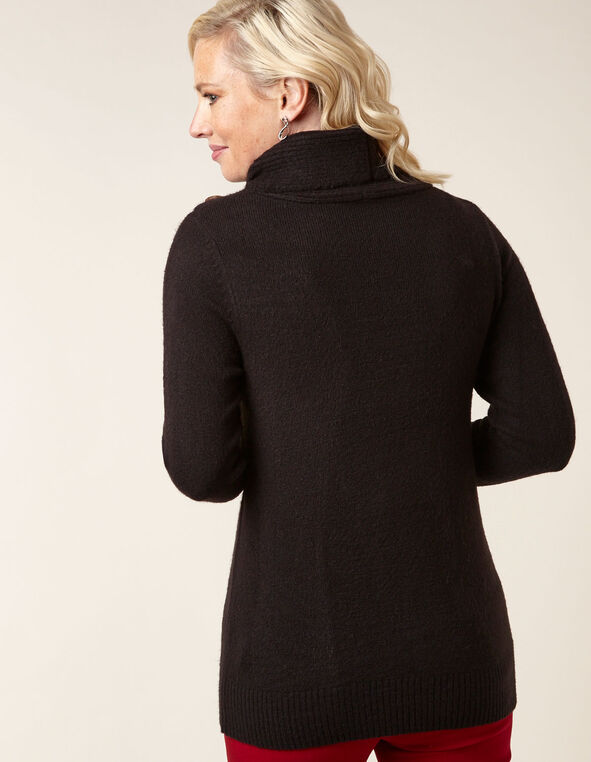 Black Button Detail Sweater, Black, hi-res