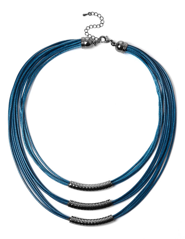 Teal Corded Necklace, Teal, hi-res
