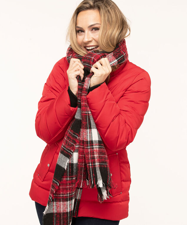 Plaid Bouclé Oblong Scarf, Red/Black/Ivory, hi-res