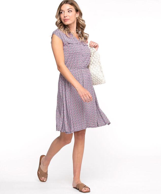 Short Sleeve Printed Dress, Pink/Blue Multi