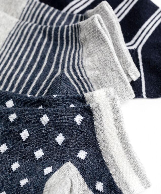 Navy/Grey Ankle Sock 3-Pack, Navy Stripes