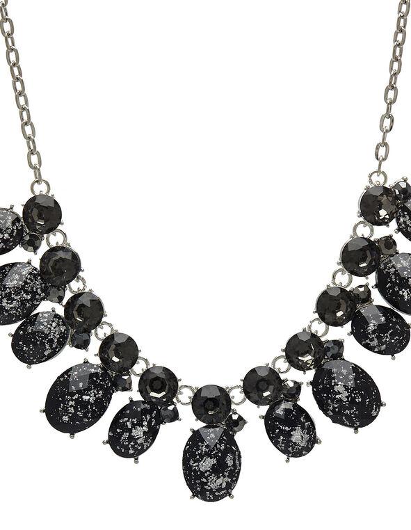 Black Crackle Stone Statement Necklace, Black, hi-res