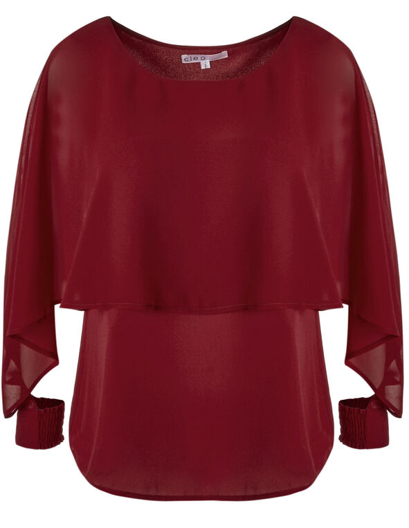 Red Caplet Styled Blouse, Red, hi-res