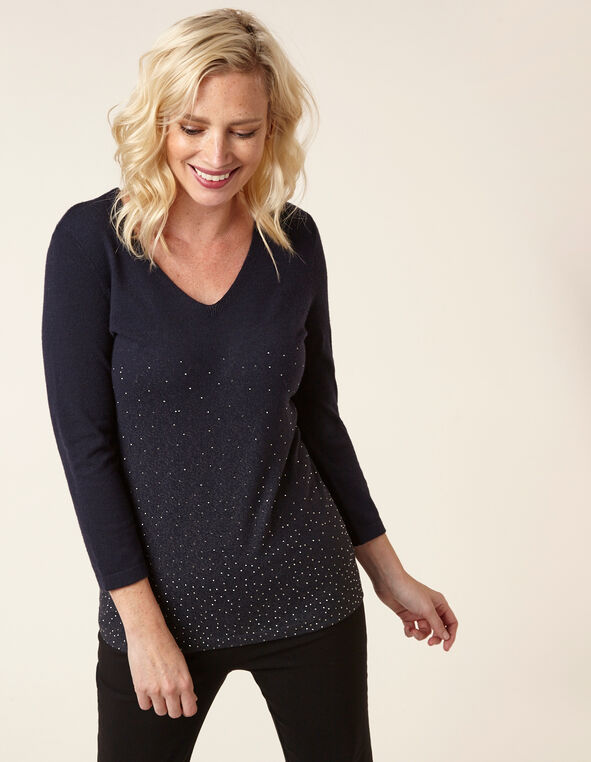 Navy Stud Detail Sweater, Navy, hi-res