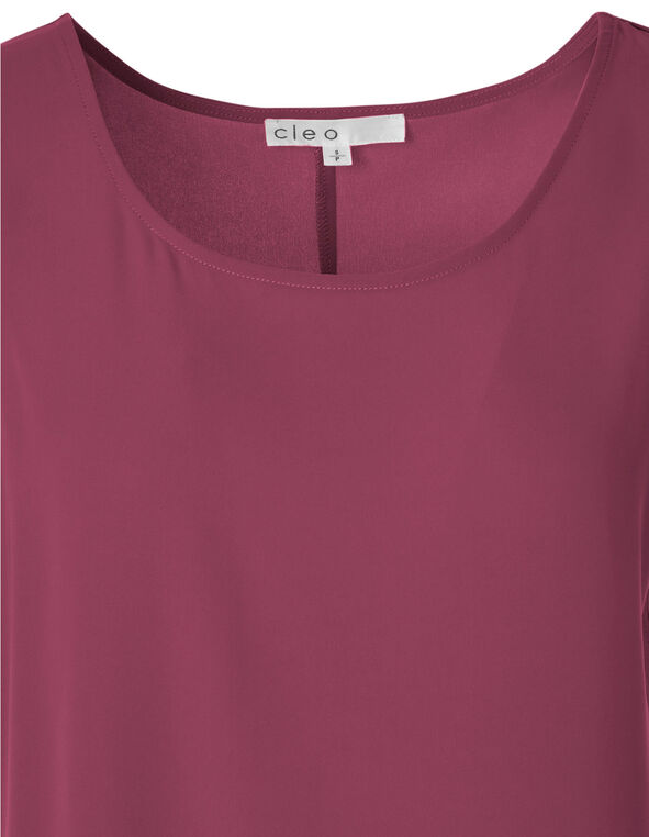 Wine Sleeveless Shell Blouse, Wine, hi-res