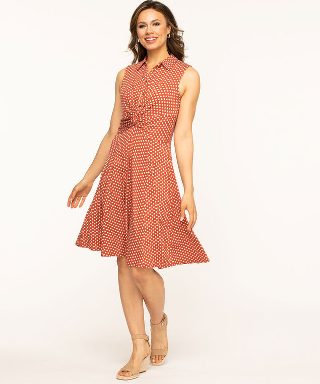 Cayenne Sleeveless Knot Front Dress, Cayenne/Sand Dot