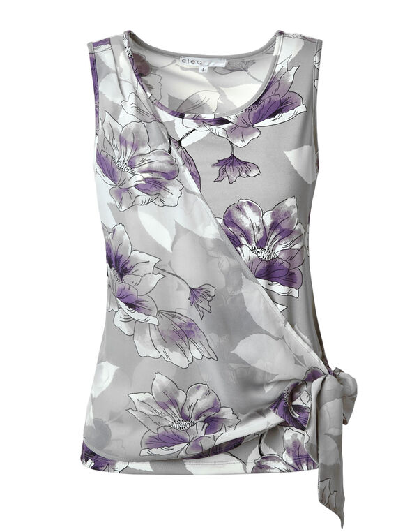 Purple Floral Side Tie Top, Grey/Purple, hi-res