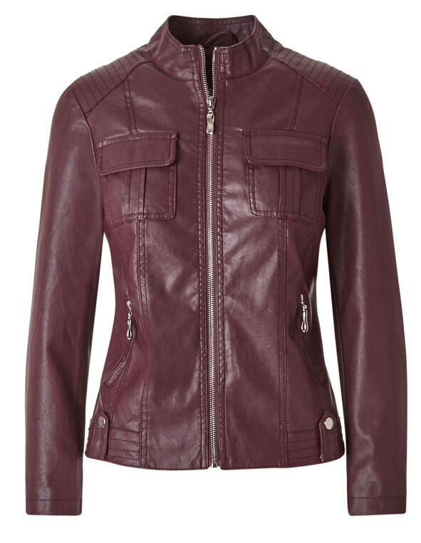 Brick Faux Leather Jacket, Brick, hi-res