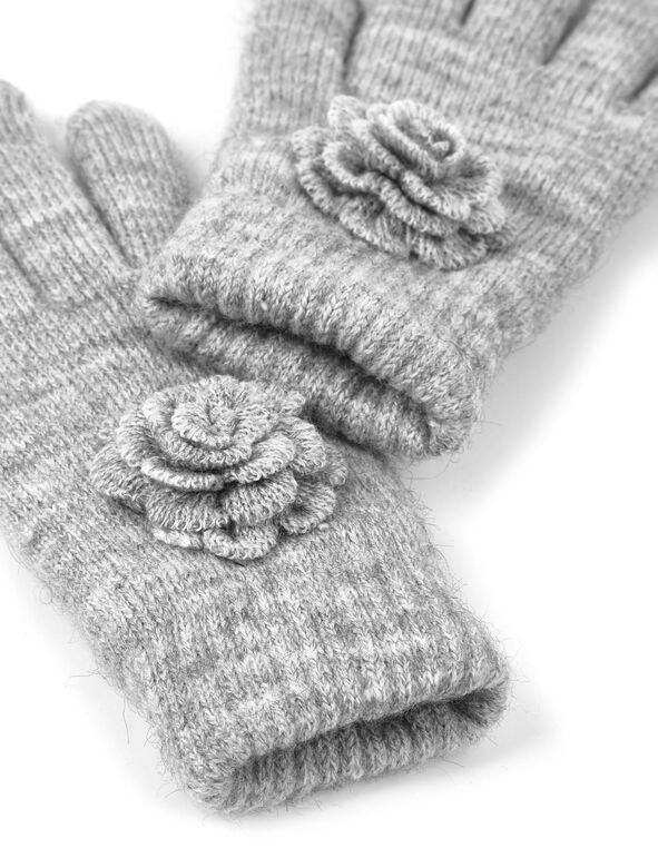 Grey Flower Detail Knit Glove, Grey, hi-res