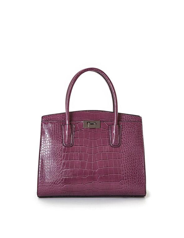Merlot Croco Handbag, Merlot, hi-res
